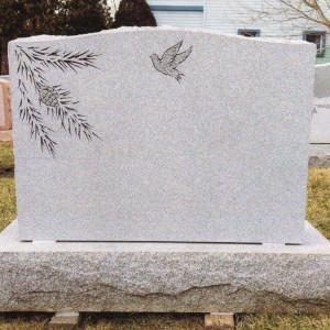 Barre Grey Double Upright with Pine Boughs and Bird Carvings #214