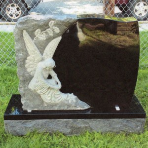 Jet Black Double Upright Hand-Sculpted Angel #1