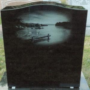 Imperial Black Single Upright Lake Scene Etching #97